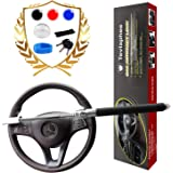 Steering Wheel Lock   Universal Anti-Theft Clamp Heavy Duty Vehicle Safety Rotary Adjustable Lock Self-Defense with 3 Keys (B