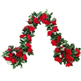 EDIFIERY 2 Pack (4.9m) Artificial Rose Vine Flowers Plants Fake Flower Vine for Wedding Home Party Garden Craft Art Decor Red