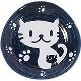 みのる陶器 美濃焼 藍ねこ 角50皿 16.3×16.3×H3cm