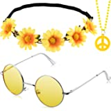 3 Pieces Hippie Costume Party Accessories Set includes Peace Sign Bead Necklace, Flower Crown Headband, Hippie Sunglasses for