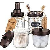 Mason Jar Bathroom Accessories Set(4 Pack) - Foaming Soap Dispenser&Qtip Holder Set&Toothbrush Holder-Rustic Farmhouse Decor