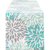 Smurfs Yingda Dahlia Pinnata Table Runner Green Gray Print Flower Table Runners Top Decor for Dinner Parties, Catering Events