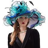 ORIDOOR Women Organza Fascinator Church Kentucky Derby Hat Floral Tea Party Wedding Hat