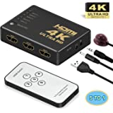 HDMI Switch,Supports 4K,GANA Intelligent 5 in 1 Out HDMI Splitter,Full HD1080p, 3D with IR Remote for PS3 / PS4 / Apple TV/Ro