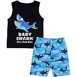 Von kilizo Baby Boy Clothes Shark Doo Doo Doo Print Summer Cotton Sleeveless Outfits Set Tops + Short Pants