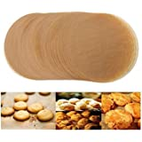 Unbleached Parchment Paper Cookie Baking Sheets,12 Inch Premium Brown Parchment Paper Liners for Round Cake Pans Circle,Non-s