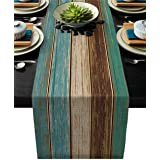 Cotton Linen Table Runner Dresser Scarves Retro Rustic Barn Wood&Teal Green Brown Non-Slip Burlap Rectangle Table Setting Dec