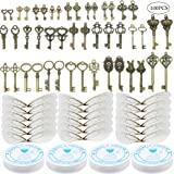46 PCS Antique Bronze Vintage Skeleton Keys Charms Potter Flying Keys Enchanted Key With 50 Pairs Dragonfly Wings and 105 Yar
