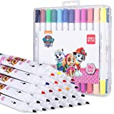 PAW PATROL 2 Nibs Watercolor Brush Pens, 24 Double Heads Paint Markers with Flexible Brush Tips and Hard Tips, Kids Loving Pa