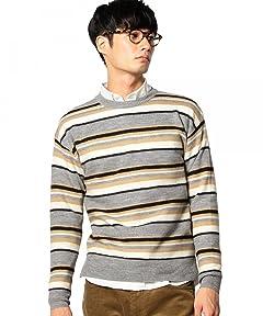 Boiled Wool Multi Stripe Crewneck Sweater 3213-130-0443: Beige