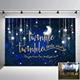 Mehofoto Twinkle Twinkle Little Star Backdrop Shinning Star and Moon Galaxy Space Photography Background 7x5ft Glitter Little
