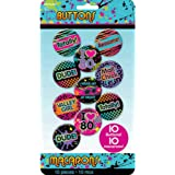 Amscan totally 80s Buttons 10 Pieces