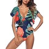 XUGWLKJ Women's One Piece V Neck Ruffle Swimsuit Beachwear Bathing Suits