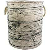 Mziart Unique Tree Stump Large Laundry Basket Bag with Rope Handles, Collapsible Wood Grain Waterproof Laundry Hamper Stylish