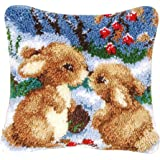 Latch Hook Kit DIY Pillow Cover Handcraft Printed EmbroiderySet Crochet Needlework Crafts for Kids & Adults (Rabbit, 17 x 17