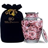 BOLD & DIVINE Hand Painted Pink Solid Metal Pink Rose Cremation Urns for Human Ashes Adult Urns for Ashes Cremation Urns for