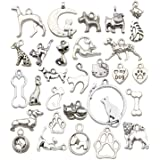WOCRAFT 100g Craft Supplies Small Antique Silver Animals Charms Pendants for Crafting, Jewelry Findings Making Accessory for