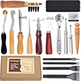 Leather Sewing Tools 18 pcs Leather Carft Tools KitIncludingAwl Punch Groover Skiving Tool and Prong Punch,Home Stitching C