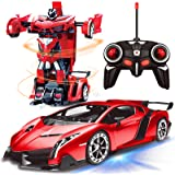 AMENON Remote Control Transform Car Robot Toy with Lights Deformation RC Car 2.4Ghz 1:18 Rechargeable 360°Rotating Stunt Race