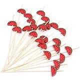 "PuTwo Cocktail Picks Handmade Bamboo Toothpicks 100pcs 4.7"" in Watermelon Decor"