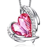 CDE Love Heart Pendant Necklaces for Women Silver Tone Rose Gold Tone Crystals Birthstone Jewelry Gifts for Party/Anniversary