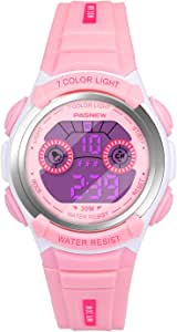 Hiwatch 腕時計 子供用 デジタル表示 防水 アラーム付き LEDライト付き【Web日本語取扱説明書あり】ピンク