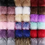 Auihiay 36 Pieces Colorful Faux Fur Pom Poms Balls with Elastic Loop Fur Pompoms for Hats Scarves Gloves Bags Accessories (4