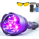 uvBeast NEW V3 385-395nm Black Light UV Flashlight - Rechargeable 18650 with Glasses - HIGH POWER UPGRADED Triple Broad Band