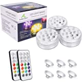 Waterproof Underwater Light,ALED LIGHT Updated 3 Pack 13 LEDs RGB Submersible LED Lights with Suckers Remote Control Battery