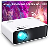 Projector, GooDee WiFi Mini Projector with Projector Screen, Synchronize Wireless Video Projector LED 1080p Full HD, Portable
