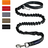 AUROTH Heavy Duty Bungee Dog Leash for Medium Large Breed Dogs, No Pull for Shock Absorption with Car Seat Belt, 2 Padded Han