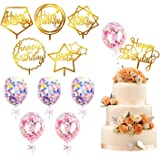 kortes 12 Pack Gold Birthday Cake Topper Set, 6 Pattens Acrylic Cake Topper with 6 Pcs Confetti Balloon Happy Birthday Cake T