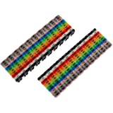 E-outstanding 200PCS 0-9 Coded Clip on Plastic Cable Identification Wire Marker Number Tag Label C-Type Colorful