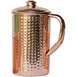 HealthGoodsAU - Pure Copper Hammered Water Jug with Lid | Copper Pitcher for Ayurveda Health Benefits