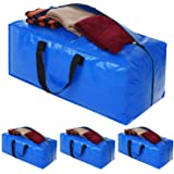 Heavy Duty Extra Large Storage Bags, XL Blue Moving Bags Totes with Zippers for Clothing Storage, Comforter, Blankets, Colleg