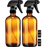 Empty Amber Glass Spray Bottles with Labels (2 Pack) - 16oz Refillable Container for Essential Oils, Cleaning Products, or Ar
