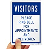 """SmartSign - K-7678-EU-07 """"Visitors - Please Ring Bell For Appointments And Deliveries"""" Label 