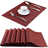 BeChen Placemats,Washable Easy to Clean Woven Vinyl Kitchen Placemats for Dining Table,Set of 4(Orange), PVC & Polyester, A-b