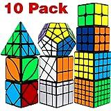 Speed Cube Set, Libay Cube Bundle 2x2 3x3 4x4 5x5 Pyramid Megaminx Skew Mirror Ivy Windmill Sticker Magic Cube Collection - P