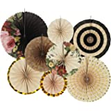 Zilue Hanging Paper Fans Decoration Set for Wedding Birthday Party Baby Showers Round Events Accessories Set of 8 Flowers