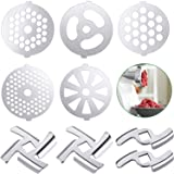 9 Pieces Meat Grinder Blades Meat Grinder Plate Discs Stainless Steel Food Grinder Accessories for Size 5 Stand Mixer and Mea