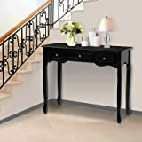 Artiss Console Table Wooden French Provincial Hallway Entry Desk - Black
