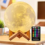 Moon Lamp 3d Printing 16 Colors Moon Light with Stand & Remote &Touch Control and USB Rechargeable (Diameter 4.72 inch), Best