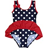 TiaoBug Girls Summer Beach One-piece Polka Dots Bowknot Swimwear Swimsuit