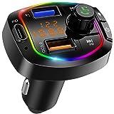 Bluetooth 5.0 FM Transmitter for Car, QC3.0+Type-C PD 18W Wireless Bluetooth Car Radio Adapter, 6 RGB Backlit Bluetooth Car K