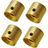 Pack of 4pcs Brass Dome Knob Volume Tone Control Knobs for Electric Guitar Bass Screw Type (Gold)