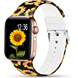 Sunnywoo Sport Band Compatible with Apple Watch 38mm 40mm 42mm 44mm, Soft Silicone Floral Fadeless Strap Bands for iWatch Ser