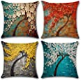 4-Pack Decorative Throw Pillow Cover 18x18 Inch, Cotton Linen Oil Painting Home Decor Pillow Cushion Cases for Couch, Sofa, B