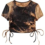 Romwe Women's Butterfly Print Short Sleeve Drawstring Ruched Crop Tops T Shirt Tee