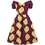 Wellwits Women's Pleated Bubble Sleeves African Print Off Shoulder Vintage Dress